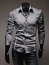 Men\'s Shirt Solid Colored Plus Size Long Sleeve Daily Slim Tops Casual Classic Collar Gray White Black / Fall / Spring