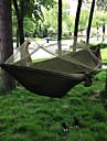 Campinghammock med myggnät Dubbel hängmatta Utomhus Bärbar Andningsfunktion Snabb tork Anti-mygg Ultra Lätt (UL) Parachute Nylon med karabiner och trädband för 2 personer Jakt Fiske Camping Svart Bl