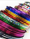 24 pcs Kreativ Klistermärken Nail Foil Striping Tape Till Fingernageö Randig nagel konst manikyr Pedikyr Dagligen Chic och modern / Mode / Foliebandspapp