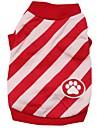 Katt Hund T-shirt Hundkläder Röd Blå Kostym Cotton Rand XS S M L
