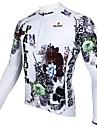 ILPALADINO Herr Långärmad Cykeltröja Vit Blommig Botanisk Cykel Tröja Överdelar Bergscykling Vägcykling Håller värmen Andningsfunktion Snabb tork sporter 100% Polyester Kläder / UV-Resistent