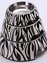 MIddle Zebra Applique Melamin Rund Skål med rostfritt stål skålen för hundar och katter
