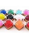 12st blandade färg ren färg uv builder gel uv färg gel polish set nail art dekoration (8 ml)
