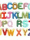 färgglada söta 26 bokstäver trä karikatyr kylmagnet unge barn pedagogisk leksak