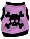 Katt Hund T-shirt Hundkläder Andningsfunktion Purpur Kostym Cotton Hjärta Dödskalle XS S M L