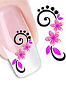 1 pcs 3D Nagelstickers Vattenöverföringsklistermärke nagel konst manikyr Pedikyr Blomma / Mode Dagligen / 3D Nail Stickers