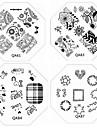 1st nya nagel stämpling bildplattor chic spets blomma kärlek platta för diy nagel konst dekorationer (diverse mönster)