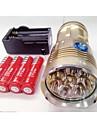 LED-Ficklampor Vattentät Uppladdningsbar 9600lm LED LED 8 utsläpps 3 Belysning läge med batterier och laddare Vattentät Uppladdningsbar Nattseende Camping / Vandring / Grottkrypning Vardagsanvändning