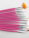 15st nagel konst design måla ritning penna pensel uppsättning (vit, rosa, svkonst 3 färg att välja)