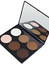 6 färger Puder Pressat puder Highlighters och bronzers Torr / Matt Ansikte Smink Kosmetisk