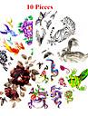 10 pcs Tatueringsklistermärken tillfälliga tatueringar Djurserier / Blomserier Vattentät / Ogiftig Body art / Mönster