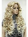 Syntetiska peruker Lockigt Lockigt Peruk Blond Lång Syntetiskt hår 26 tum Dam Ombre-hår Sidodel Blond