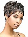 Syntetiska peruker Rak Lockigt Kardashian Stil Frisyr i lager Peruk Svart Syntetiskt hår 2 tum Dam Naturlig hårlinje Svart Peruk Korta