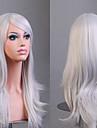 Syntetiska peruker Lockigt Naturligt vågigt Kardashian Stil Asymmetrisk frisyr Peruk Silver Syntetiskt hår Dam Naturlig hårlinje Vit Peruk Mellan Lång