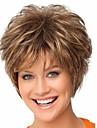Syntetiska peruker Rak Lockigt Lockigt Rak Pixie-frisyr Med lugg Peruk Korta Brun Syntetiskt hår Dam Brun