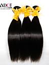 4 paket Malaysiskt hår Rak Human Hår vävar Hårförlängning av äkta hår Människohår förlängningar