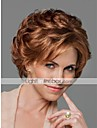 Mänskligt hår Peruk Korta Vågigt Korta frisyrer 2019 Med lugg Vågigt Sidodel Utan lock Dam Beige Blond / Blekt Blont Palestina Blonde Honung Blondin / Blekblondin
