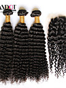 Mongoliskt hår Lockigt Kroppsvågor Klassisk Obehandlad hår Hår Inslag med Stängning Hårförlängning av äkta hår Människohår förlängningar