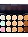 15 färger Puder Concealer / Contour Highlighters och bronzers 1 pcs Långvarig / Naturlig / Brighte Öga / Näsa / Ansikte Smink Kosmetisk