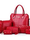 Dam Väskor PU Axelremsväska Bärkasse 6 st handväska för Shopping Casual Formell Alla årstider Vit Svart Gul Röd Blå