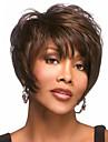 Syntetiska peruker Vågigt Vågigt Pixie-frisyr Med lugg Peruk Korta Brun Syntetiskt hår Dam Sidodel Med Bangs Brun