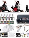 Tattoo Machine Startkit - 2 pcs Tatueringsmaskiner med 20 x 5 ml tatueringsfärger, Professionell LCD strömförsörjning No case 2 x gjutjärn tatuering maskin för linjer och skuggning