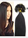 Mänskligt hår Fusion/U-spets tunn (30g-85g) Ret Människohår förlängningar