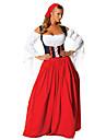 Oktoberfest Dirndl Trachtenkleider Dam Klänning Huvudbonad Bavarian Kostym Röd / Cotton