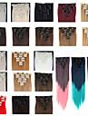 Klämma In / På Människohår förlängningar Rak Klassisk Syntetiskt hår Hårförlängningar av äkta hår Dam Ljusguldig