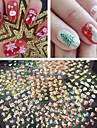 30 pcs 3D Nagelstickers nagel konst manikyr Pedikyr Vackert Abstrakt / Tecknat / Mode Dagligen / 3D Nail Stickers