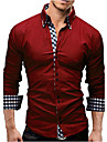 Men\'s Shirt Solid Colored Long Sleeve Office / Career Slim Tops Business Casual / Daily Spread Collar Red Royal Blue White / Fall / Spring / Work