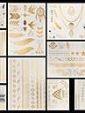 10 pcs Metallisk Tatueringsklistermärken tillfälliga tatueringar Blomserier / Smyckeserier Vattentät / Ogiftig / Halloween Body art händer /  brachium / Mönster / Ländrygg
