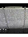 Dam Kristalldetaljer PU läder Aftonväska Rhinestone Crystal Evening Bags Guld / Silver