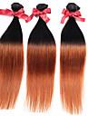 3 paket Malaysiskt hår Rak Silky rakt Äkta hår Nyans Nyans Hårförlängning av äkta hår Människohår förlängningar / 8A