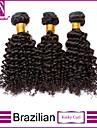 3 paket Brasilianskt hår Lockigt Klassisk Kinky Curly Obehandlad hår Human Hår vävar Hårförlängning av äkta hår Människohår förlängningar / 10A / Sexigt Lockigt
