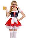 Oktoberfest Dirndl Trachtenkleider Dam Klänning Skärp Bavarian Kostym Röd / Spandex