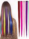 Rak Klassisk Syntetiskt hår HÅRFÖRLÄNGNING Klämma in Nyans Dagligen