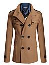 Men\'s Peaked Lapel Winter Coat Long Solid Colored Daily Long Sleeve Camel Black Navy Blue M L XL / Work / Slim