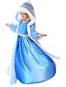 Prinsessa Sagolikt Elsa Cosplay Kostymer / Dräkter Flickor Film-cosplay Pälskrage Blå Kappa Klänning Handskar Halloween Nyår Chiffong