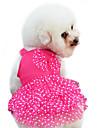 Hund Klänningar Hundkläder Gul Röd Blå Kostym Spädbarn Liten hund Cotton Prickig Rosett Mode XS S M L XL XXL