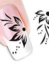 1 pcs 3D Nagelstickers Vattenöverföringsklistermärke nagel konst manikyr Pedikyr Blomma / Abstrakt / Mode Dagligen / 3D Nail Stickers