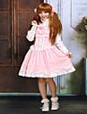 Prinsessa Sweet Lolita Klänningar Dam Flickor Spets Cotton Japanska Cosplay-kostymer Rosa Enfärgad Ärmlös Kort längd