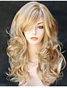 Syntetiska peruker Kroppsvågor Vågigt Med lugg Peruk Blond Lång Blond Syntetiskt hår 24 tum Dam Sidodel Blond