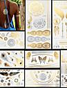 8 pcs Metallisk Tatueringsklistermärken tillfälliga tatueringar Totemserier / Djurserier / Blomserier Vattentät / Blixt / Spets Body art Ansikte / händer /  Brachium / Glitter / Mönster / Kristall