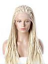 Syntetiska snörning framifrån Sexigt Lockigt Spetsfront Peruk Blond Blond Syntetiskt hår Dam Blond