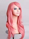 Syntetiska peruker Lockigt Naturligt vågigt Kardashian Stil Asymmetrisk frisyr Peruk Rosa Rosa Syntetiskt hår Dam Naturlig hårlinje Rosa Peruk Mellan Lång