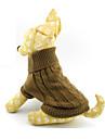 Katt Hund Tröjor Vinter Hundkläder Brun Kostym Ull Enfärgad XS S M L