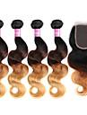 4 paket med stängning Brasilianskt hår Kroppsvågor Obehandlad hår Hår Inslag med Stängning 8-30 tum Hårförlängning av äkta hår Ombre-hår Människohår förlängningar