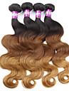 4 paket Malaysiskt hår Kroppsvågor Obehandlad hår Nyans Hårförlängning av äkta hår Människohår förlängningar / 10A