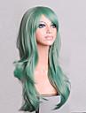 Syntetiska peruker Lockigt Naturligt vågigt Minaj Stil Asymmetrisk frisyr Peruk Grön Syntetiskt hår Dam Naturlig hårlinje Grön Peruk Mellan Lång